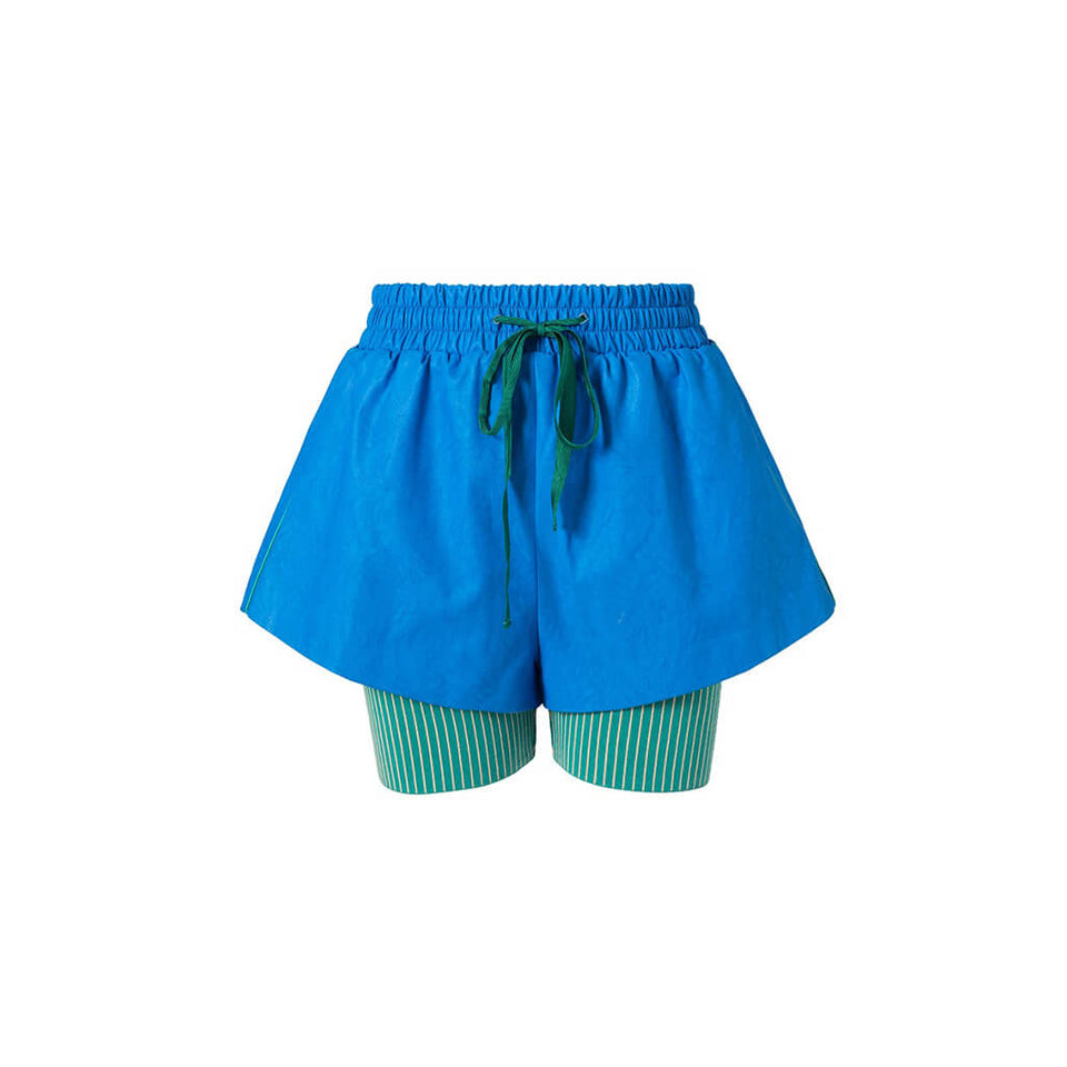 Mukzin Designer Brand Runway Show Edition Lederhosen Women Royal Blue Shorts - Jade In The Shadow