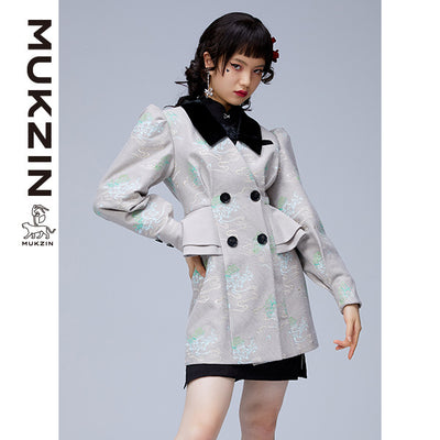 Mukzin Designer Brand Gray Jacket with Black Collar- ADVENTURE IN SPACE
