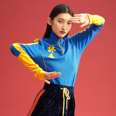 "Mukzin Long Sleeve Splice Embroidery ""Wing Chun"" Women Blue Knitting Sweatshirt - Jade In The Shadow"