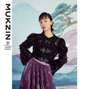 Mukzin Designer Brand Black Lace Shirt - SPACE IN THE GOURD