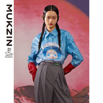 Mukzin Designer Brand Blue Shirt -ADVENTURE IN SPACE