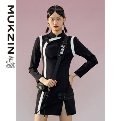 Mukzin Designer Brand Black Qipao in Casual Style-ADVENTURE IN SPACE