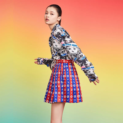 Mukzin Designer Brand Color Pattern Women Skirt - Ne Zha