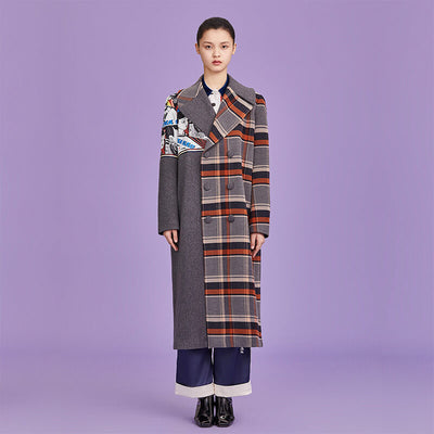 Mukzin Designer Brand Vintage Plaid Stitching Women Long Coat - Ne Zha