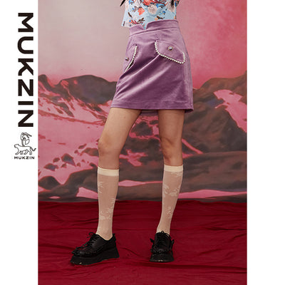 Mukzin Designer Brand Purple Velvet Skirt--ADVENTURE IN SPACE