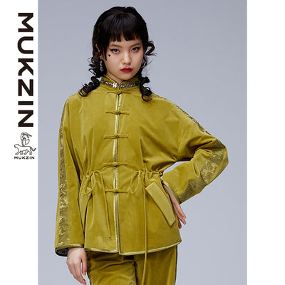 Mukzin Designer Brand Green Long Sleeve Jacket- ADVENTURE IN SPACE