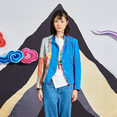 Mukzin Designer Brand Stitching Standing Collar Women Color Jacket - Chaos of Mountains and Seas
