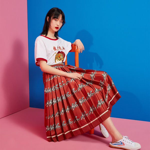 MUKZIN Summer New Retro Print Pleated Skirt - DAAN