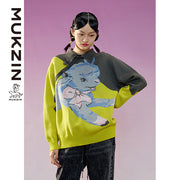 Mukzin Designer Brand Sweater with Cartoon Jacquard- ADVENTURE IN SPACE