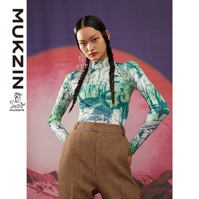 Mukzin Designer Brand Green Bottoming Shirt-ADVENTURE IN SPACE