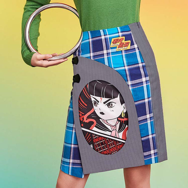 Mukzin Designer Brand Cartoon Pattern Stitching Women Skirt - Ne Zha