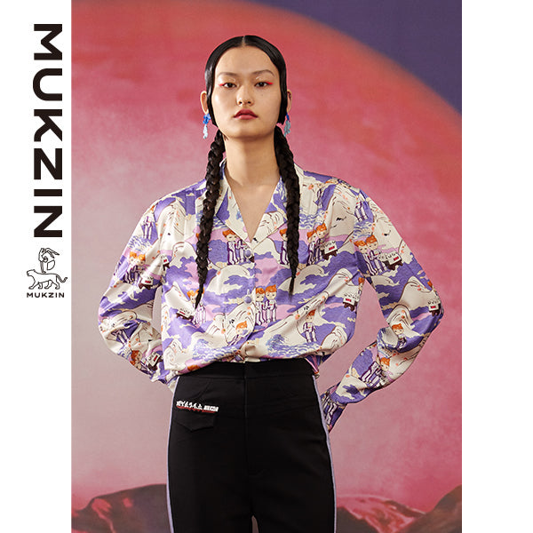 Mukzin Designer Brand Shirt with Cartoon Print - ADVENTURE IN SPACE