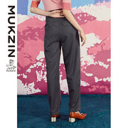 Mukzin Designer Brand Contrast Color Ctraight Pants - SPACE IN THE GOURD