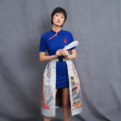 Mukzin Short Sleeve Improved Women Blue Cheongsam Dress - Chaos of Mountains and Seas