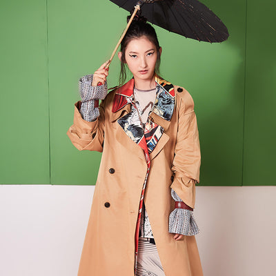 Mukzin Comic Books Printing Women Trench Coat - Jade In The Shadow