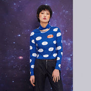 Mukzin Slim Fit Half High Collar Women Long Sleeve Blue Shirt - Chaos of Mountains and Seas
