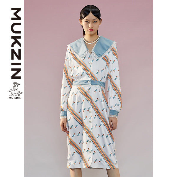 Mukzin Designer Brand Stripy Dress- ADVENTURE IN SPACE
