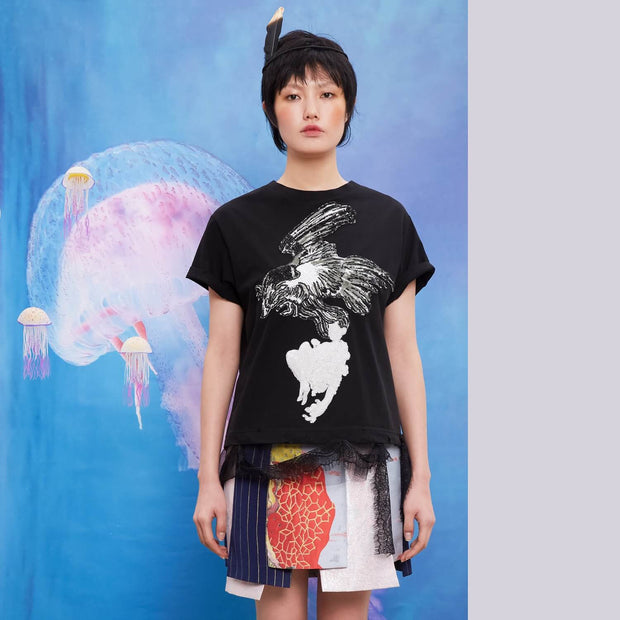 Mukzin Heavy Work Sequin Embroidery Lace Women Black T-shirt - Chaos of Mountains and Seas