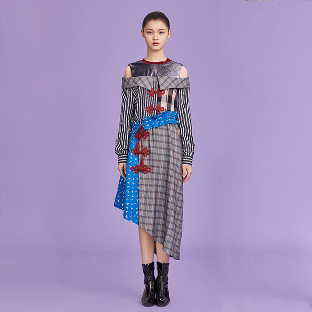 Mukzin Designer Brand Asymmetric Plaid Stitching Women Dress - Ne Zha