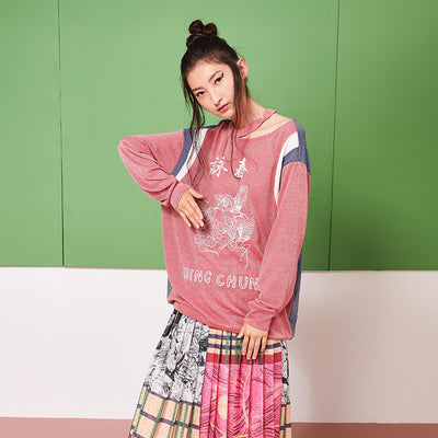 "Mukzin Contrast Color Vintage Design ""Wing Chun"" Women Pink Sweatshirt - Jade In The Shadow"