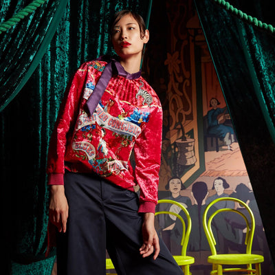 Mukzin Original Design Red Velvet Bow-tie Women Sweatshirt - The Theater of Mao'er