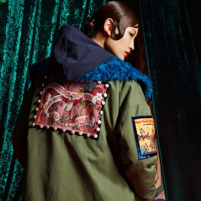 Mukzin Printed Cotton Women Army Green Long Parka Coat - The Theater of Mao'er