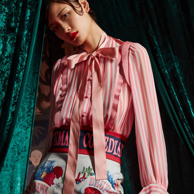 Mukzin Stitched Pleated Printing Lace Ruffled Chiffon Pink Women Shirt - The Theater of Mao'er