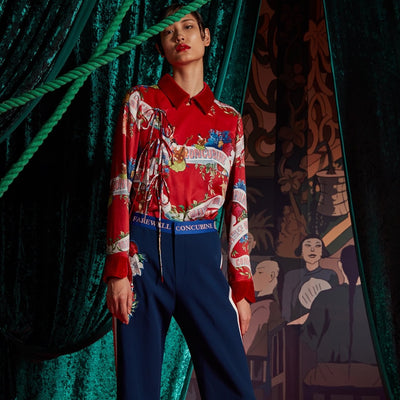 Mukzin Printed Lace-up Original Design long-sleeved shirt - The Theater of Mao'er