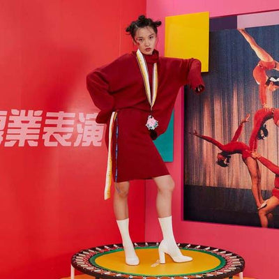 Mukzin Designer Pajamas Robes Women Red Long Sweater Suit - HongMuDan Acrobatic Troupe