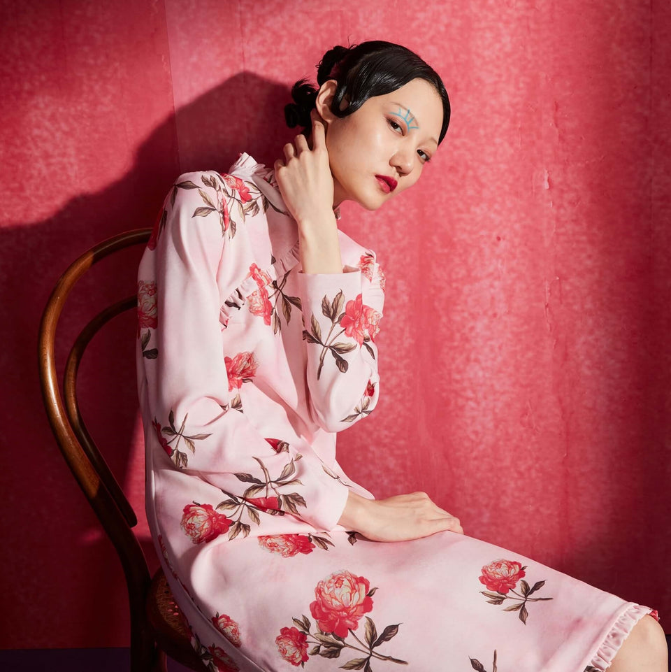 Mukzin Flower Print Pattern Stand Collar Long Sleeve Dress - The Theater of Mao'er