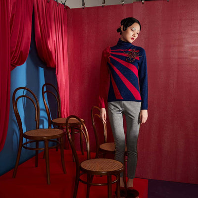 Mukzin High Collar Long Sleeve Slim Pullover Sweater- The Theater of Mao'er