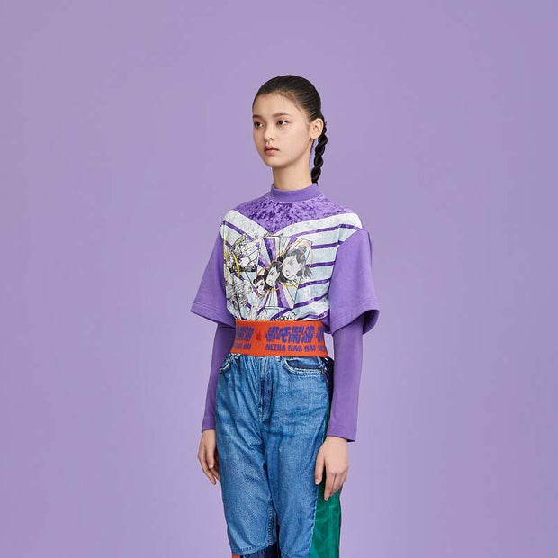 Mukzin Designer Velvet High Collar Women Back Zip Purple Two Pieces T-Shirt - Ne Zha