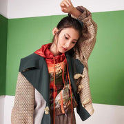 Mukzin Long-sleeve Splicing Buckle Dragon-shaped Embroidery Women Coat - Jade In The Shadow