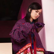 Mukzin Runway Edition Asymmetrical Printed Tie Women Purple Down Jacket - The Theater of Mao'er