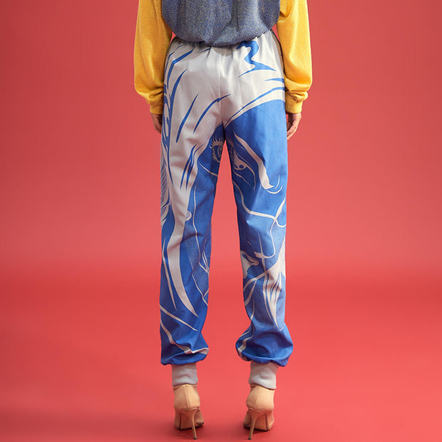 Mukzin Character Pattern Blue and White Women Track Pants - Jade In The Shadow