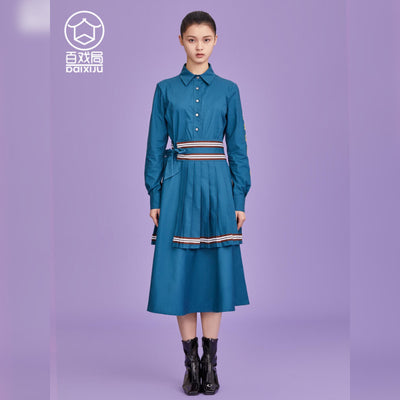 Mukzin Designer Brand Pleated Ethnic Style Women Long Blue Dress - Ne Zha