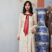 Mukzin Designer Chinese Style Slim Women Long Sleeve Lace Dress - Daan