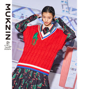 Mukzin Designer Brand Red Vest  - MONSTER SWEETHEART