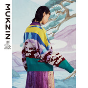 Mukzin Designer Brand Contrast Color Round Neck Sweater - SPACE IN THE GOURD