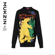 Mukzin Designer Brand Loose Monster Print Black Sweater - MONSTER SWEETHEART