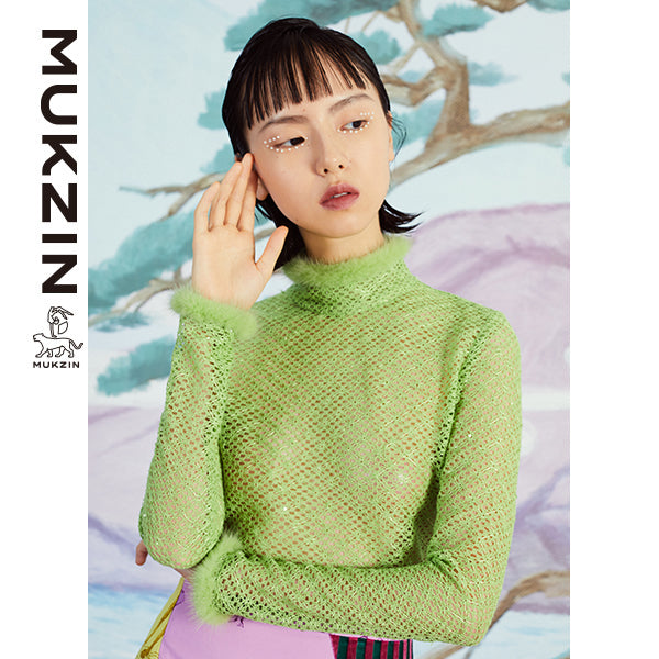 Mukzin Designer Brand High Collar Light Green Shirt - SPACE IN THE GOURD