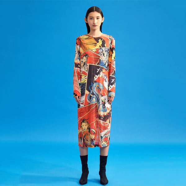 Mukzin Designer  Cartoon Print Long Sleeve Dress-Jade In The Shadow
