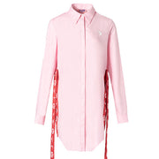 Mukzin Designer Long Sleeve Blue Casual Pink Shirt- Ne Zha