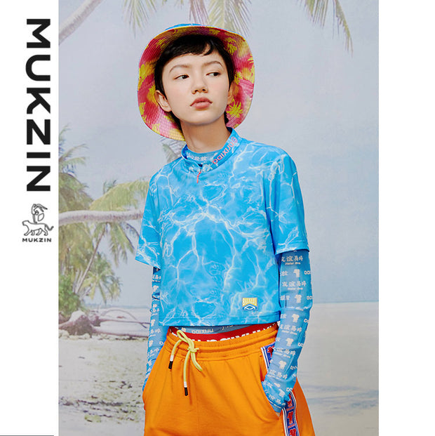Mukzin Designer Brand X Haier Brothers Blue Wave ripple printing T-shirt