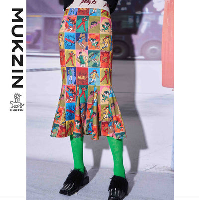 Mukzin Designer Brand Cartoon Character Printed Midiskirt - SUPERPOWER