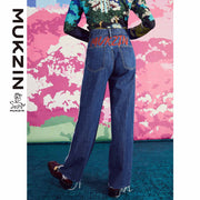 Mukzin Designer Brand Wide-Leg Jeans- SPACE IN THE GOURD