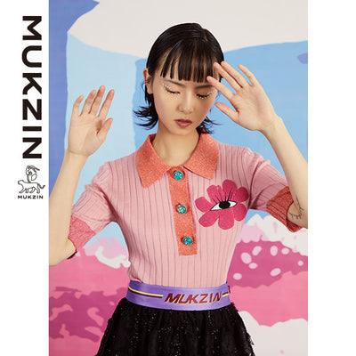 Mukzin Designer Brand Pink Polo T-shirt - SPACE IN THE GOURD