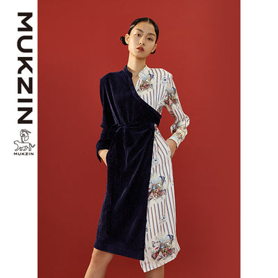 Mukzin Designer Brand Contrast Lace up Dress - SPACE IN THE GOURD
