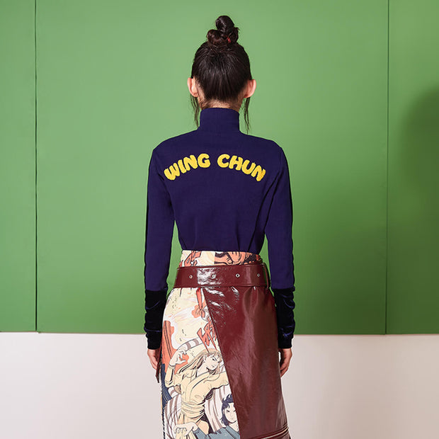 "Mukzin Splice Embroidery ""Wing Chun""  Women Navy Knitting Sweatshirt - Jade In The Shadow"