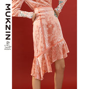 Mukzin Designer Brand  Floral Print Velvet Pink Skirt- SPACE IN THE GOURD